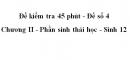 Đề kiểm tra 45 phút (1 tiết) - Đề số 4 - Chương II - Phần sinh thái học - Sinh 12