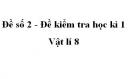 Đề số 2 - Đề kiểm tra học kì 1 - Vật lí 8