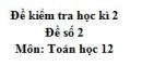 Đề số 2 - Đề kiểm tra học kì 2 (Đề thi học kì 2) - Toán 12