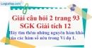 Câu hỏi 2 trang 93 SGK Giải tích 12