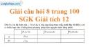 Câu hỏi 8 trang 100 SGK Giải tích 12
