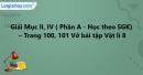 Mục II, IV - Phần A - Trang 100, 101 Vở bài tập Vật lí 8