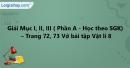 Mục I, II, III - Phần A - Trang 72, 73 Vở bài tập Vật lí 8