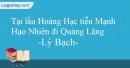 Tại lầu Hoàng Hạc tiễn Mạnh Hạo Nhiên đi Quảng Lăng - Lý Bạch