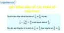 Lý thuyết quy đồng mẫu số các phân số (tiếp theo)