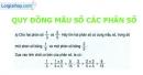 Lý thuyết quy đồng mẫu số các phân số