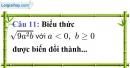 Phần câu hỏi bài 6 trang 28 Vở bài tập toán 9 tập 1