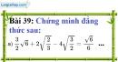 Bài 39 trang 38 Vở bài tập toán 9 tập 1