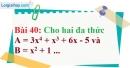 Bài 40 trang 36 Vở bài tập toán 8 tập 1