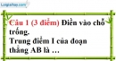 Đề kiểm tra 45 phút chương 1 phần Hình học 6 - Đề số 2