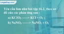 Bài 16.3 trang 22 SBT hóa học 8