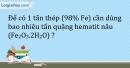 Bài 20.4 Trang 25 SBT Hóa học 9
