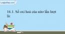 Bài 16.1; 16.2; 16.3; 16.4; 16.5  trang 37 SBT Hóa học 10