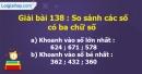 Bài 138 : So sánh các số có ba chữ số