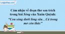 """Cảm nhận về đoạn thơ sau trích trong bài thơ sóng của Xuân Quỳnh: """"Con sóng dưới lòng sâu…Cả trong mơ còn thức"""""""