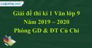 Đề thi kì 1 môn Văn lớp 9 năm 2019 - 2020 huyện Củ Chi
