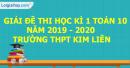 Đề thi học kì 1 môn toán lớp 10 năm 2019 - 2020 trường THPT Kim Liên