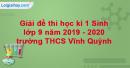 Đề thi học kì 1 Sinh lớp 9 năm 2019 - 2020 trường THCS Vĩnh Quỳnh