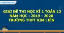 Đề thi kì 1 môn toán lớp 12 năm 2019 - 2020 Trường THPT Kim Liên