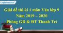 Đề thi kì 1 môn Văn lớp 9 năm 2019 - 2020 huyện Thanh Trì