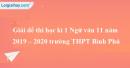 Đề thi học kì 1 môn Ngữ văn lớp 11 năm 2019 - 2020 trường THPT Bình Phú