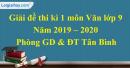 Giải đề thi kì 1 môn Văn lớp 9 năm 2019 - 2020 quận Tân Bình