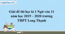 Đề thi học kì 1 môn Ngữ văn lớp 11 năm 2019 - 2020 trường THPT Long Thạnh
