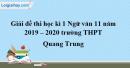 Đề thi học kì 1 môn Ngữ văn lớp 11 năm 2019 - 2020 trường THPT Quang Trung