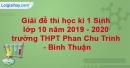Đề thi học kì 1 Sinh lớp 10 năm 2019 - 2020 trường THPT Phan Chu Trinh - Bình Thuận