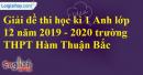 Đề thi kì 1 môn tiếng Anh lớp 12 năm 2019 - 2020 trường THPT Hàm Thuận Bắc
