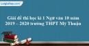 Đề thi học kì 1 môn Ngữ văn lớp 10 năm 2019 - 2020 trường THPT Mỹ Thuận