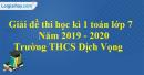 Đề thi học kì 1 môn toán lớp 7 năm 2019 - 2020 trường THCS Dịch Vọng