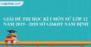Đề thi học kì 1 môn sử lớp 12 năm 2019 - 2020 Sở GD&ĐT Nam Định