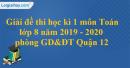 Đề thi học kì 1 môn toán lớp 8 năm 2019 - 2020 phòng GD&ĐT Quận 12