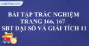 Bài tập trắc nghiệm trang 166, 167 SBT đại số và giải tích 11