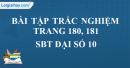 Bài tập trắc nghiệm trang 180, 181 SBT Đại số 10