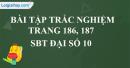 Bài tập trắc nghiệm trang 186, 187 SBT Đại số 10