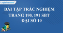 Bài tập trắc nghiệm trang 190, 191 SBT Đại số 10