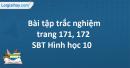 Bài tập trắc nghiệm trang 171, 172 SBT Hình học 10