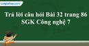 Trả lời câu hỏi Bài 32 trang 86 SGK Công nghệ 7