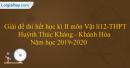 Đề thi hết học kì II môn Vật lí 12 - THPT Huỳnh Thúc Kháng - Khánh Hòa - Năm học 2019-2020