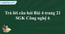 Trả lời câu hỏi Bài 4 trang 21  SGK Công nghệ 6
