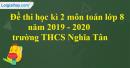 Đề thi học kì 2 môn toán lớp 8 năm 2019 - 2020 trường THCS Nghĩa Tân