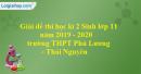 Đề thi học kì 2 Sinh lớp 11 năm 2019 - 2020 trường THPT Phú Lương - Thái Nguyên