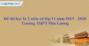 Đề thi học kì 2 môn sử lớp 11 năm 2019 - 2020 Trường THPT Phú Lương
