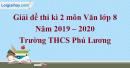 Đề thi kì 2 môn Văn lớp 8 năm 2019 - 2020 Trường THCS Phú Lương