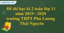Đề thi học kì 2 toán lớp 11 năm 2019 - 2020 trường THPT Phú Lương - Thái Nguyên