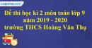 Đề thi học kì 2 môn toán lớp 9 năm 2019 - 2020 trường THCS Hoàng Văn Thụ