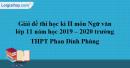 Đề thi kì 2 môn Ngữ văn lớp 11 năm 2019 - 2020 trường THPT Phan Đình Phùng