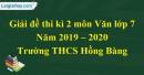 Đề thi kì 2 môn Văn lớp 7 năm 2019 - 2020 Trường THCS Hồng Bàng